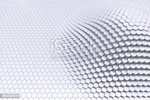 istock Plain black and white 3D contour hexagon blocks 964899570