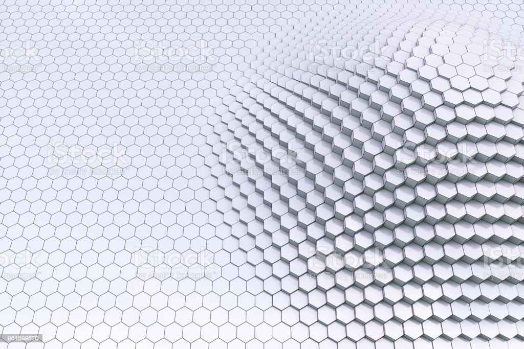 Schlichte schwarze und weiße 3D Kontur Sechseck-Blöcke – Foto
