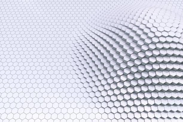 純黑白3d 輪廓六角塊 - black and white pattern 個照片及圖片檔