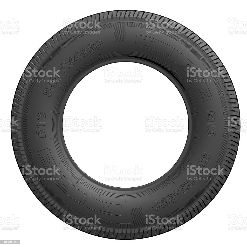 Plain black tire on a white background royalty-free stock photo