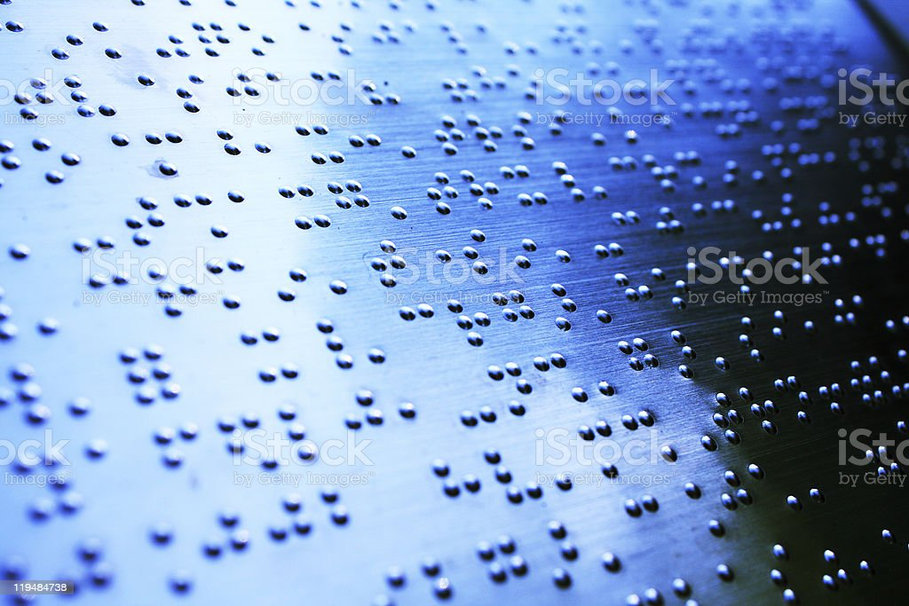 Plain Braille Page Macro with blue toned stock photo