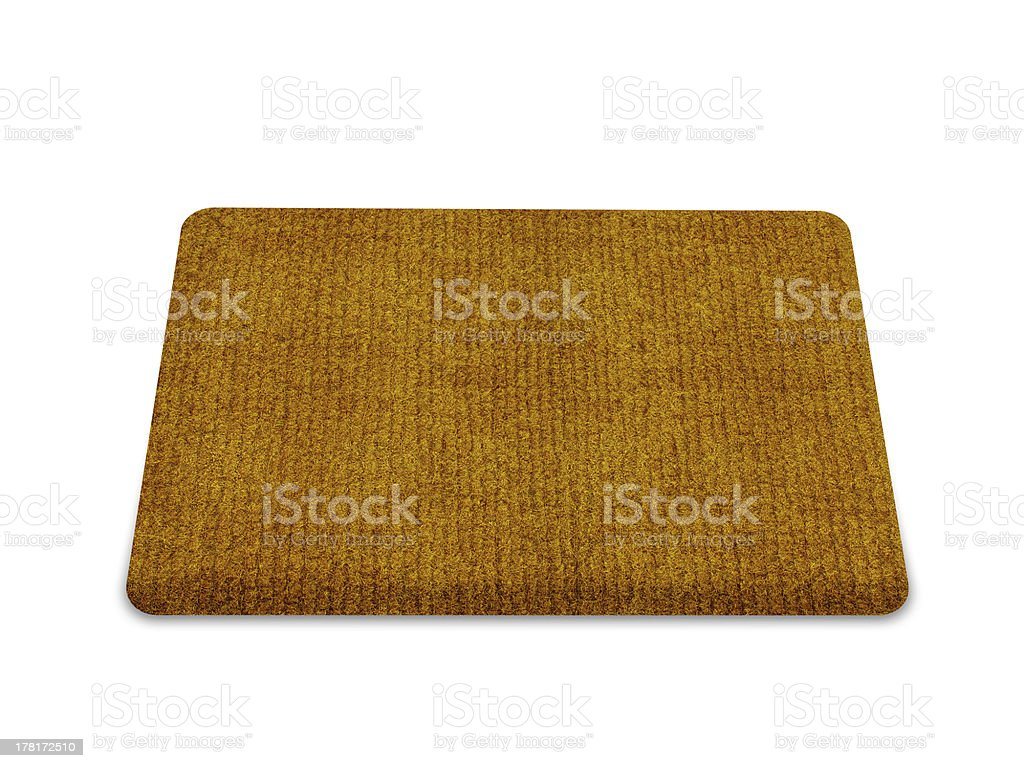 A plain brown doormat on white stock photo