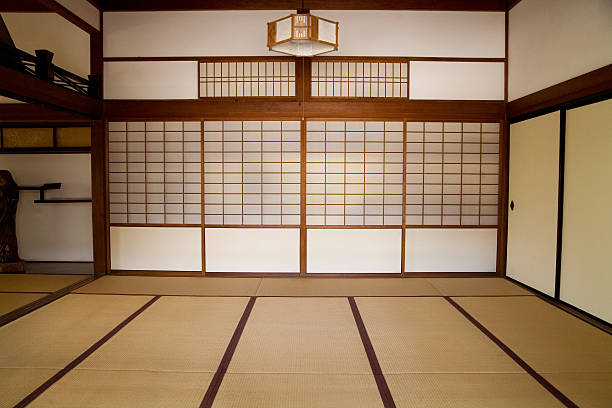 Plain brown Japanese style room with shutters stock photo