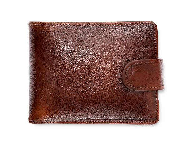 plain brown leather wallet isolated on white background - wallet stock pictures, royalty-free photos & images