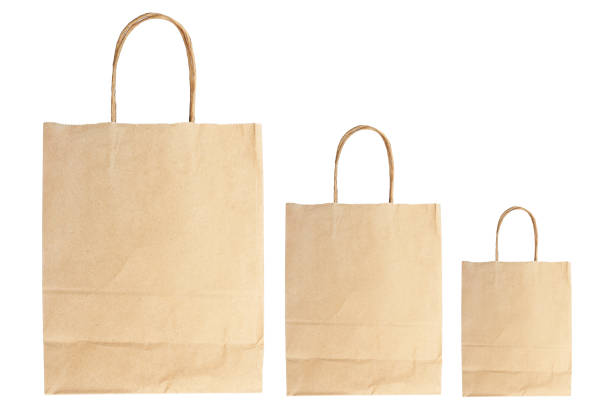 plain brown paper bags isolated on white stock photo
