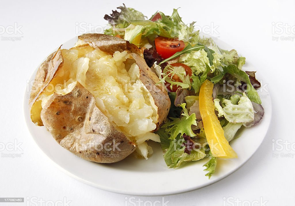 Plain Butter Jacket Potato with side salad royalty-free stock photo