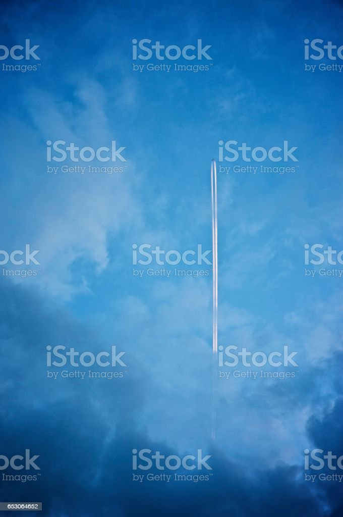 Plain contrail stock photo