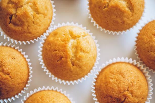 plain cupcakes auf einer weißen platte - vanille muffins stock-fotos und bilder
