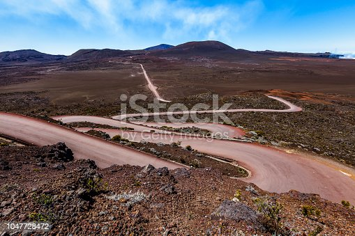 road leading to the 'piton de la fournaise' volcano on réunion island, mascarene islands, french overseas territory, indian ocean.