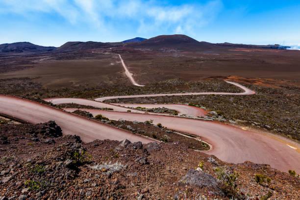plain de sables road to piton de la fournaise volcano, reunion island, french overseas territory stock photo