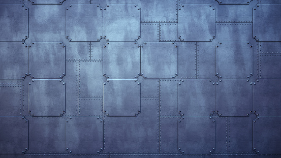 Plain Factory Wall Made Out Of Metallic Plates