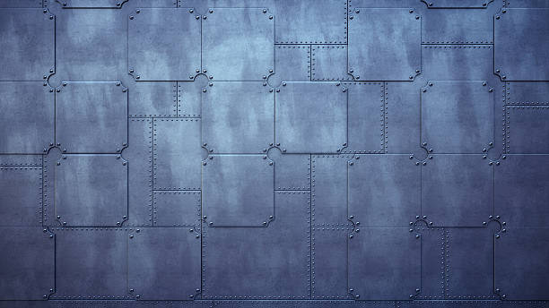 Plain Factory Wall Made Out Of Metallic Plates - foto de stock