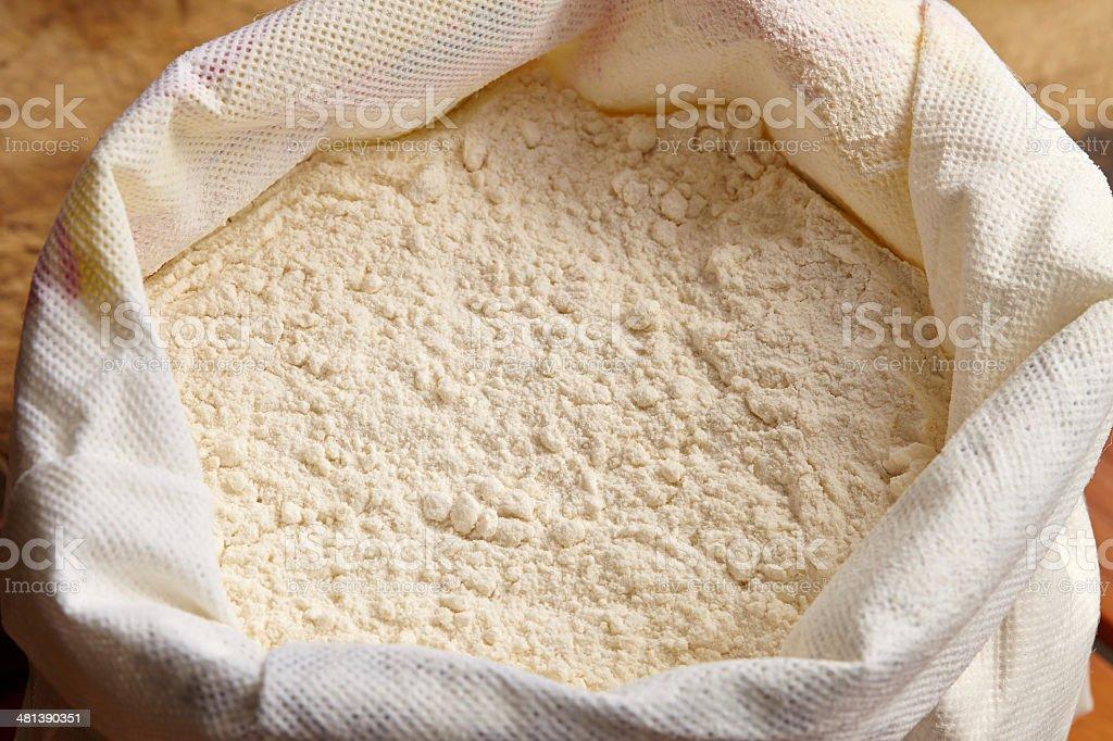 Plain flour in bag stock photo