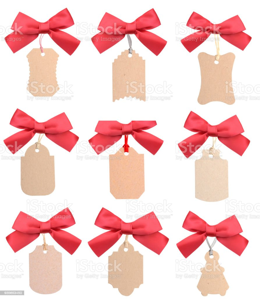 Plain gift tag label with red ribbon collection stock photo