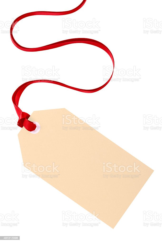 Plain gift tag with red ribbon isolated on white background stock plain gift tag with red ribbon isolated on white background royalty free stock photo negle Images