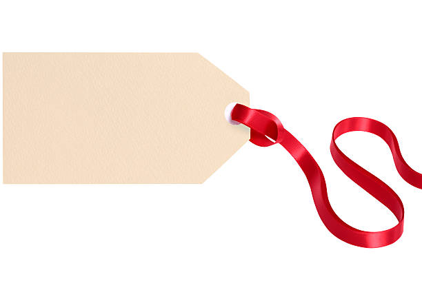 plain gift tag with red ribbon isolated on white background - gift tag note stock photos and pictures