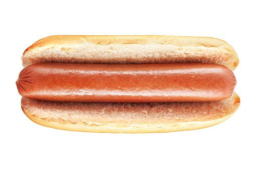 Plain hot dog with big sausage isolated on white background
