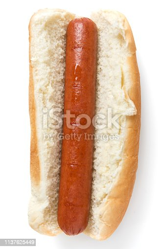 Plain hot dog from above on white background