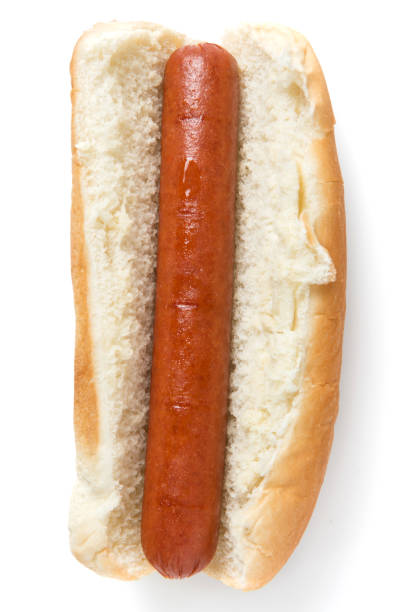 Plain hotdog from above stock photo