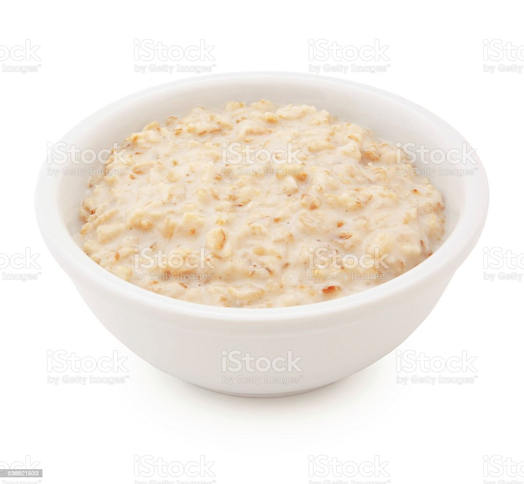 Plain Oatmeal Bowl (with path) stock photo