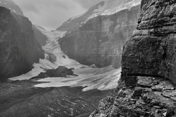 Plain Of The Six Glaciers Banff National Park Landscape featuring the Plain of the Six Glaciers.  Banff National Park.  Monochrome image. mt victoria canadian rockies stock pictures, royalty-free photos & images