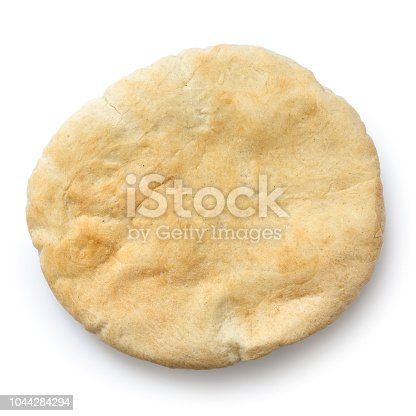 Plain pita bread isolated on white from above.