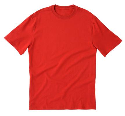ブランクレッドの T シャツのフロントにクリッピングパスます - Tシャツのストックフォトや画像を多数ご用意