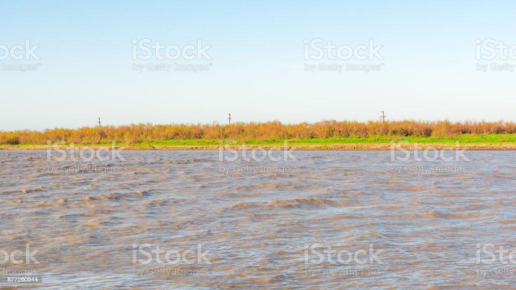 Plain river stock photo
