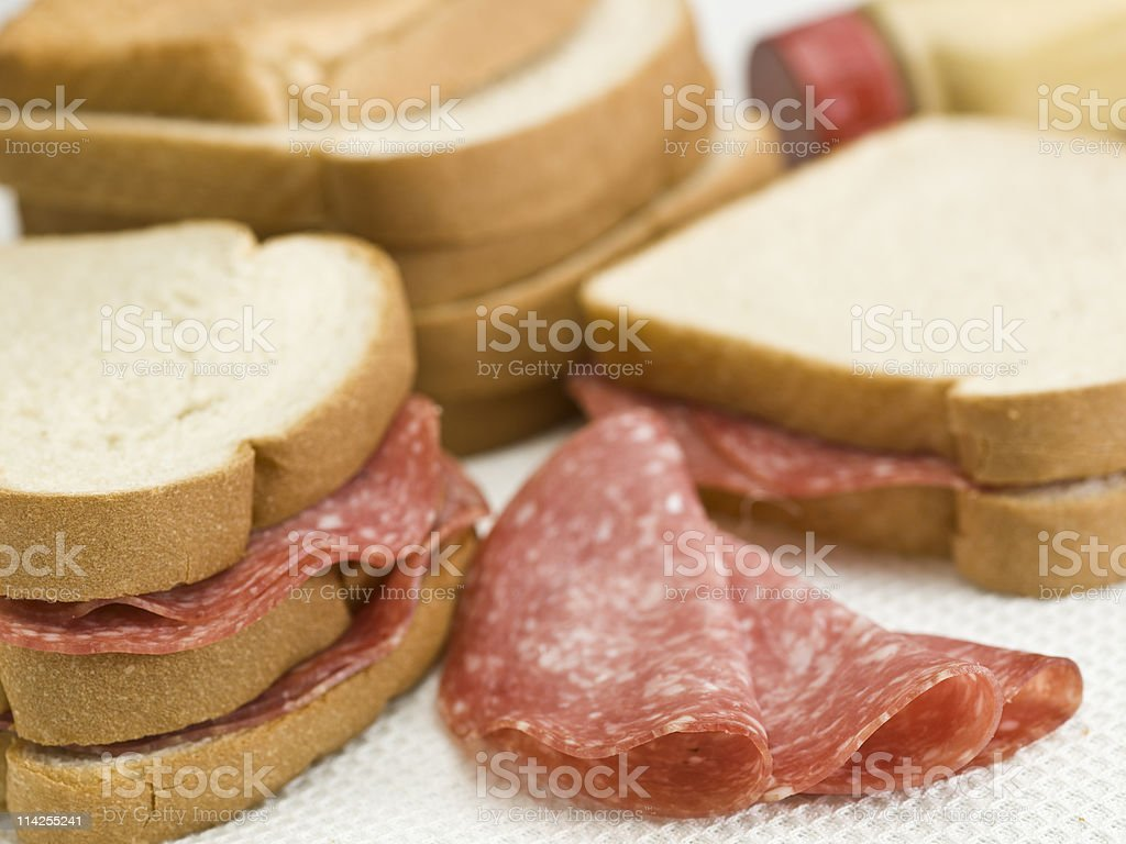 Plain salami sandwich with white bread stock photo