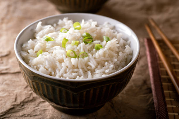 Plain Steamed Rice stock photo