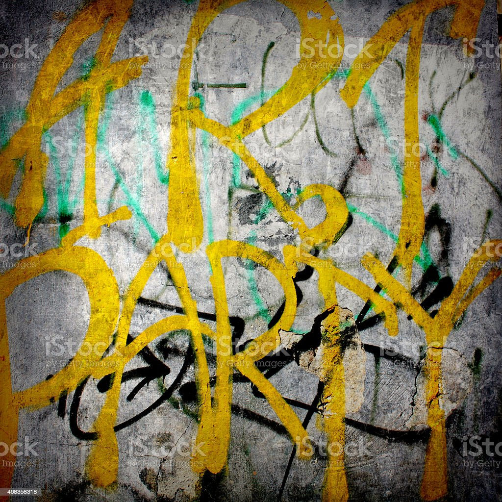 Plain text in style of graffiti on  old plastered wall royalty-free stock photo