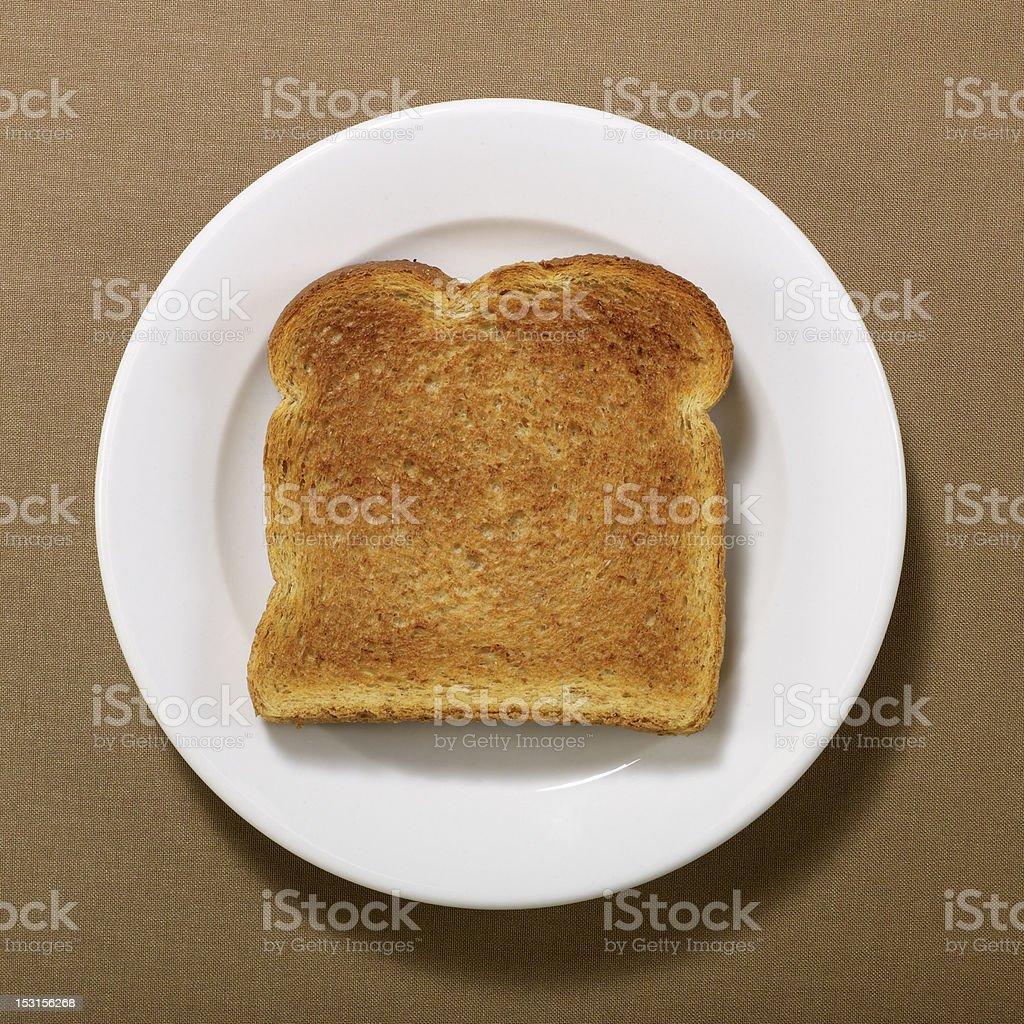Plain Toast on Round Plate stock photo