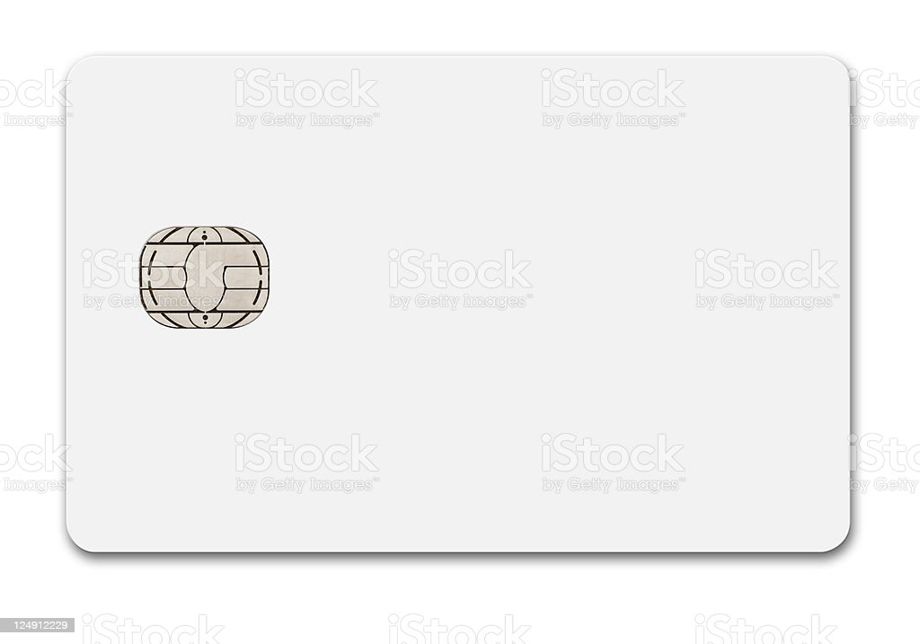 a plain white blank credit card on a white background