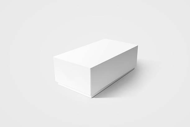 Plain white carton product box mockup, side view, clipping path. stock photo