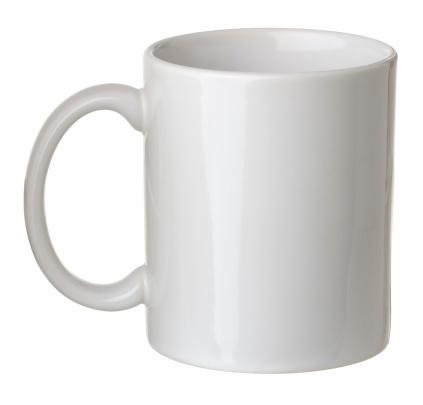 Plain white coffee mug isolated on white background