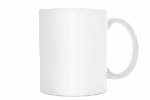 Mug Ready For Branding With Logo. Comes with path so you can place it on any background. Path does not include small drop shadow at base of mug