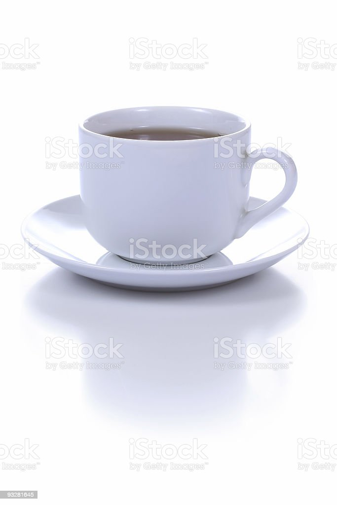 Plain white cup of coffee and saucer on white background stock photo