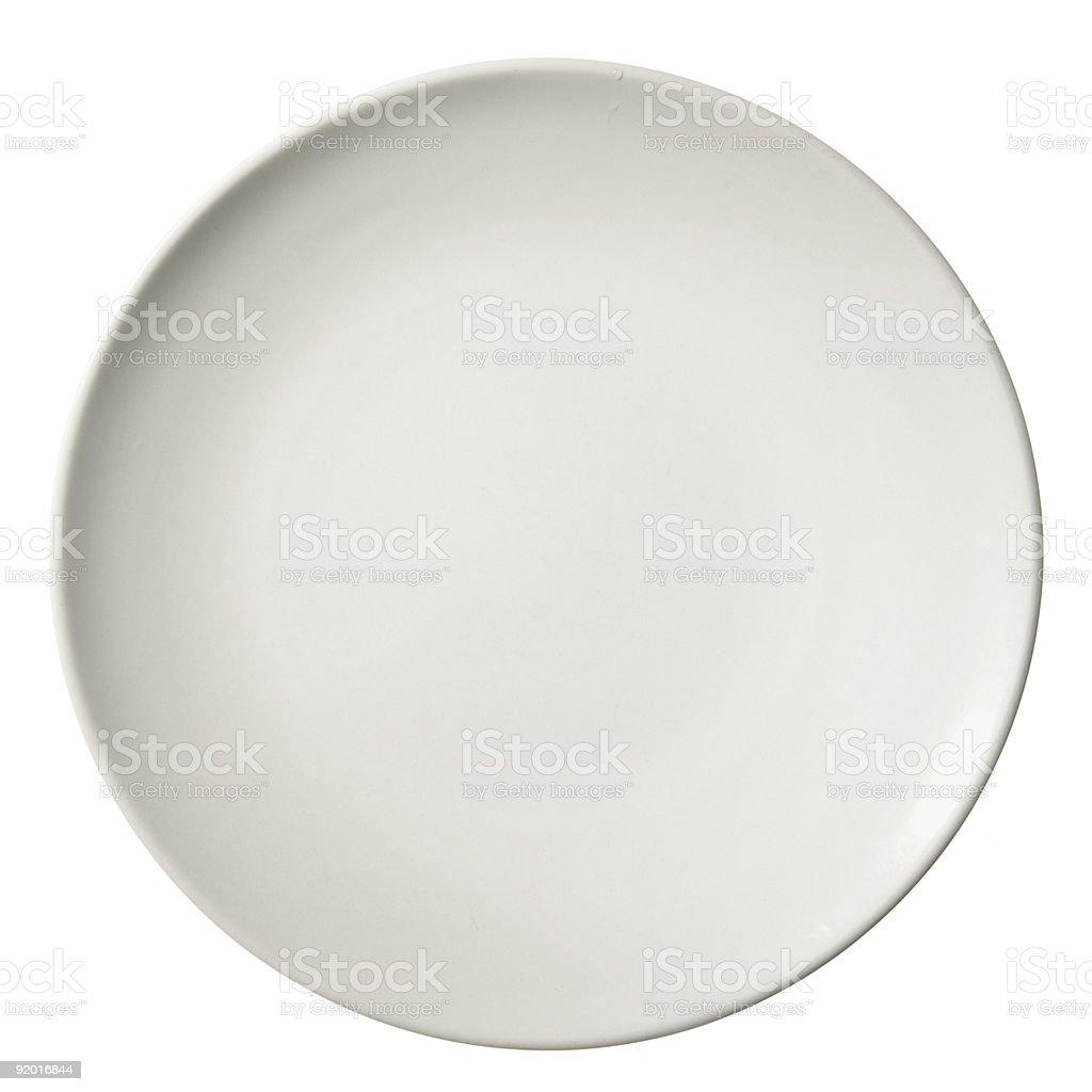 Plain white dinner plate on a white background stock photo