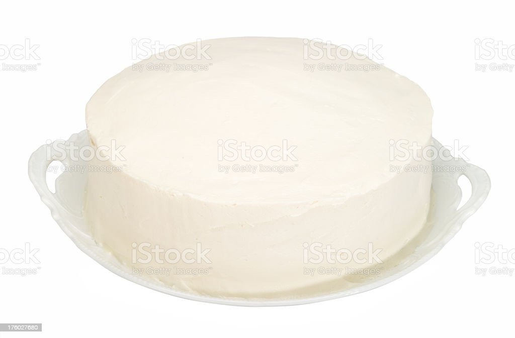 Plain white frosted cake stock photo