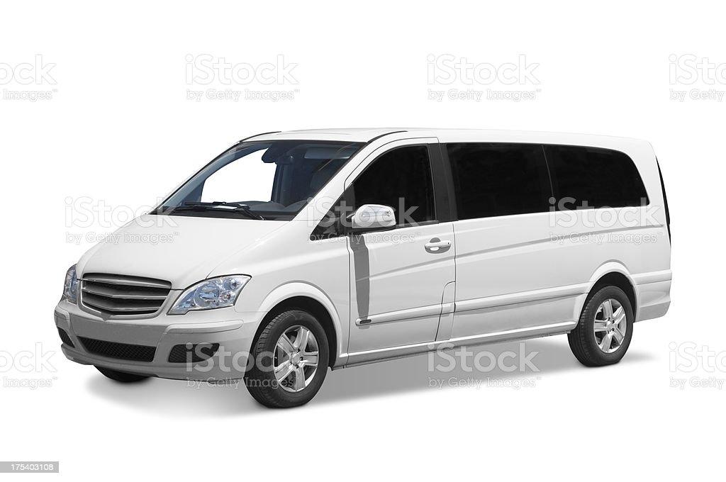 Plain white long van with dark tint glass window stock photo