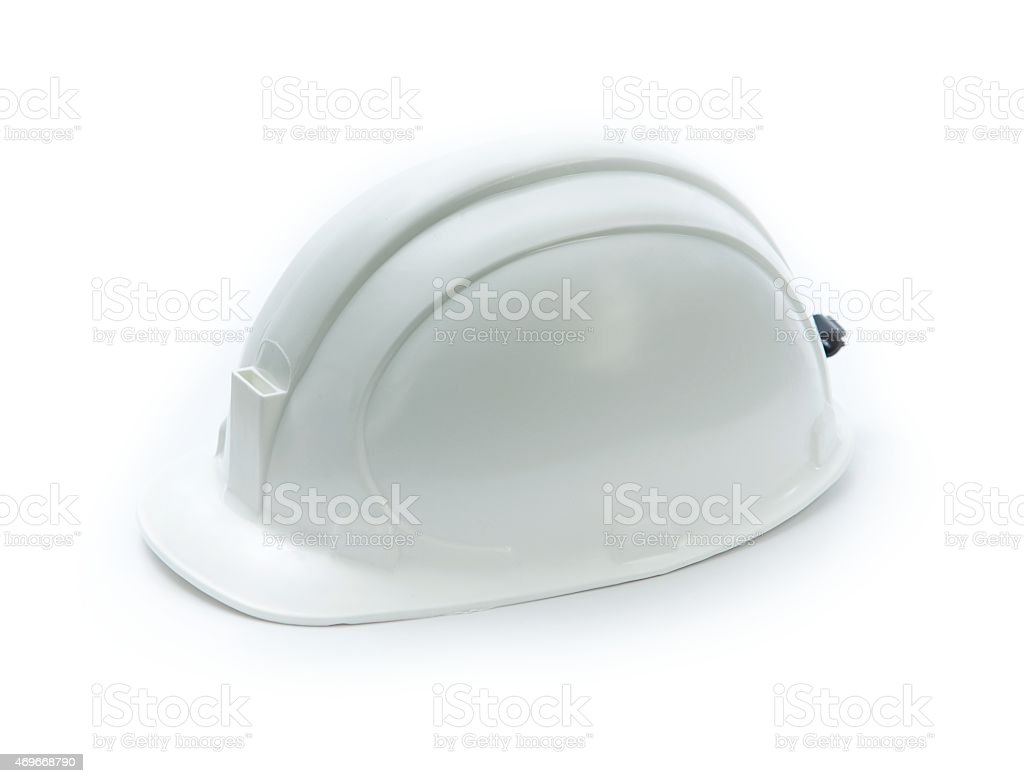 Plain white mining helmet with light mount isolated on white stock photo