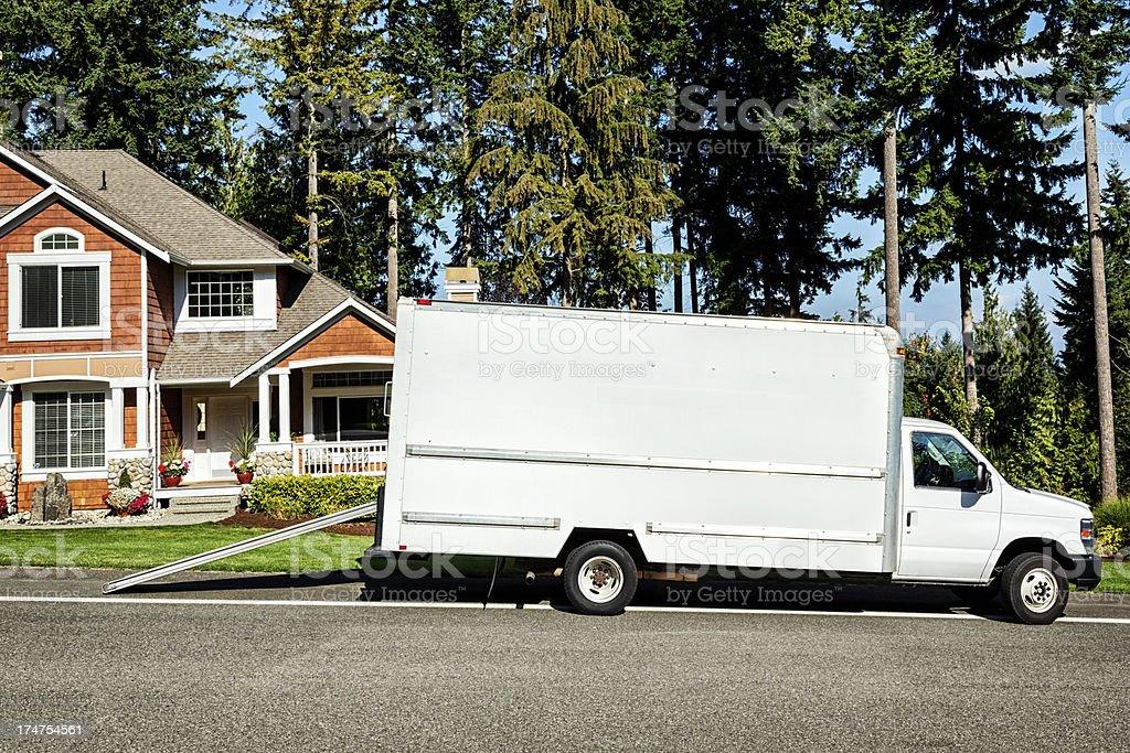 Plain White Moving Truck stock photo