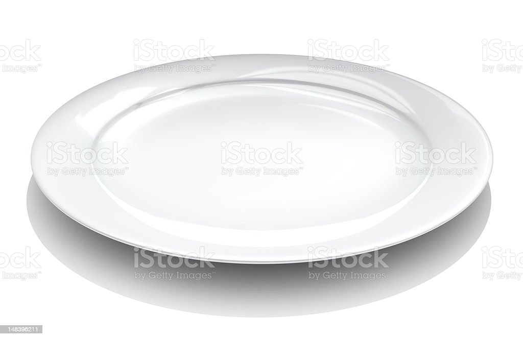 Plain white plate featured on a white background stock photo