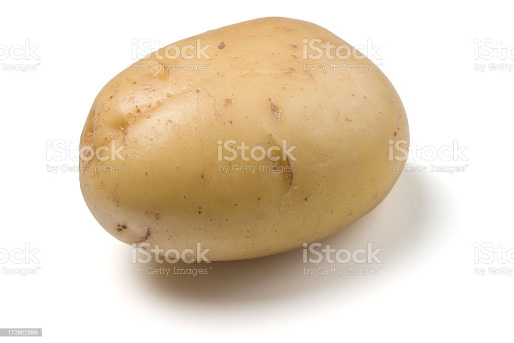 Plain white potato on a white background  stock photo