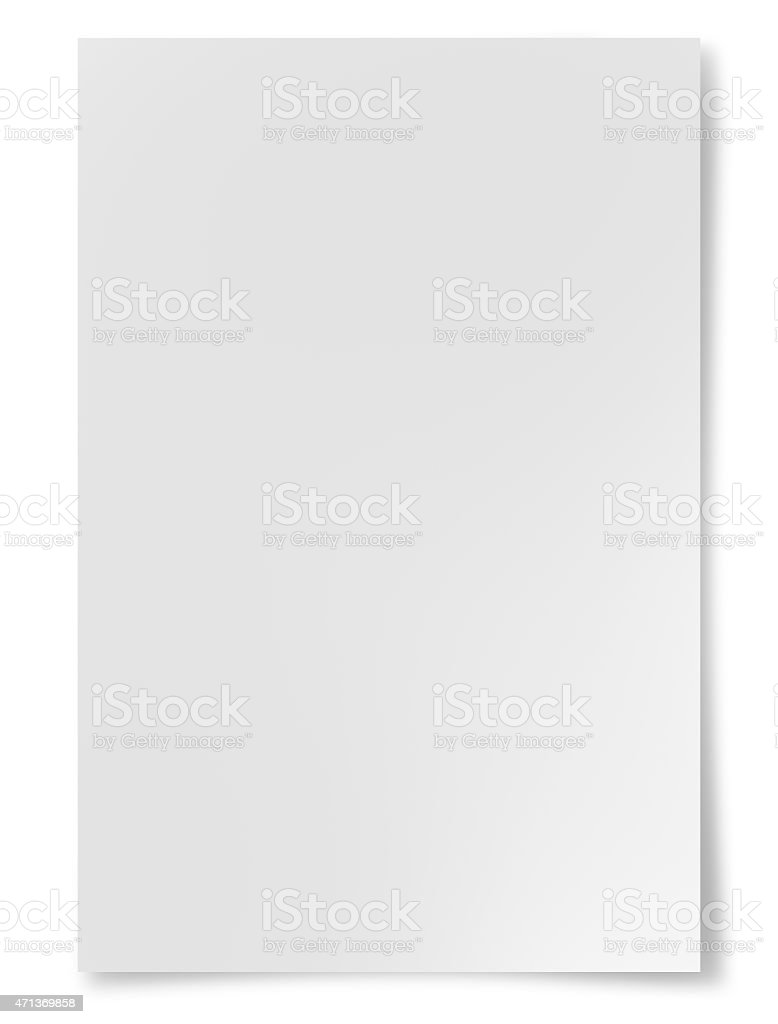 A plain white sheet of paper on a white background stock photo