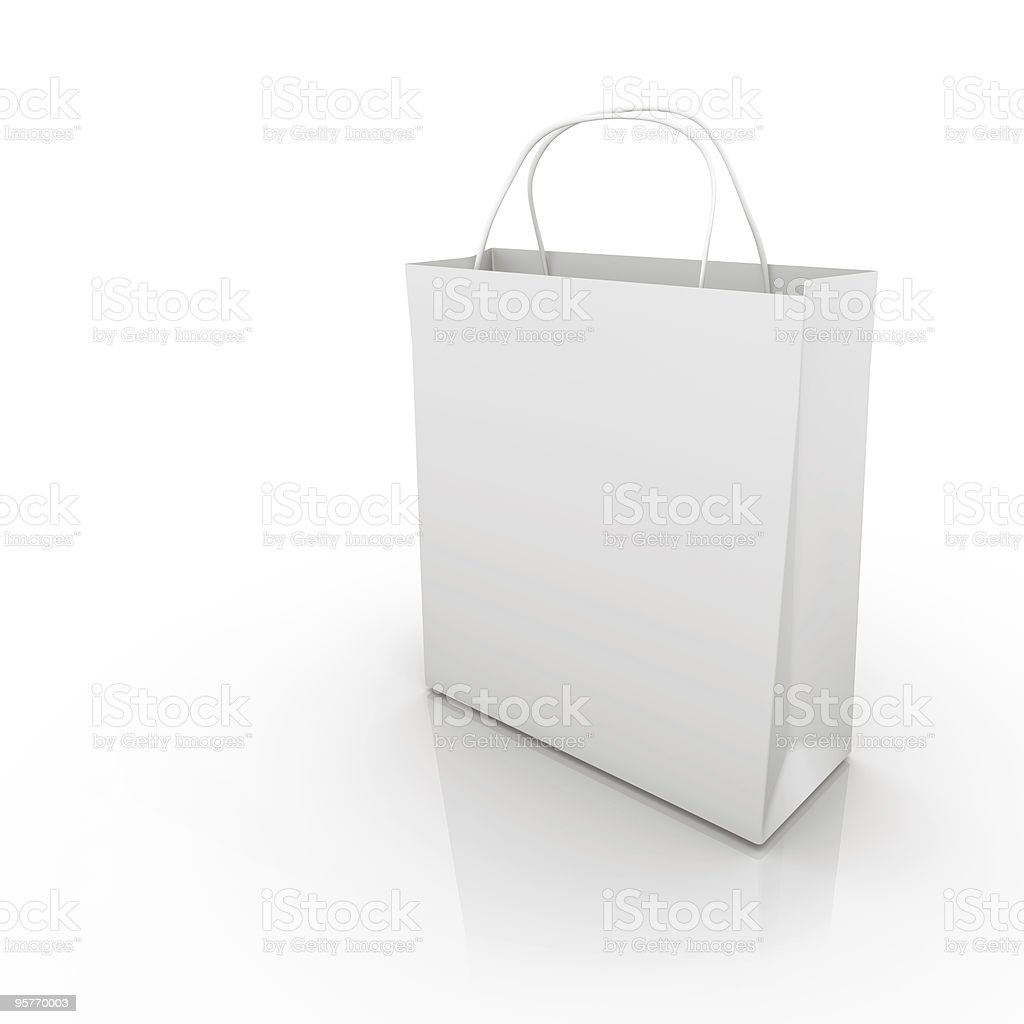 A Plain White Shopping Bag On White Background Stock Photo