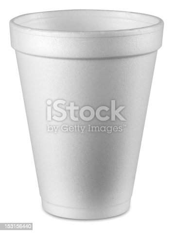styrofoam cup on white with clipping path