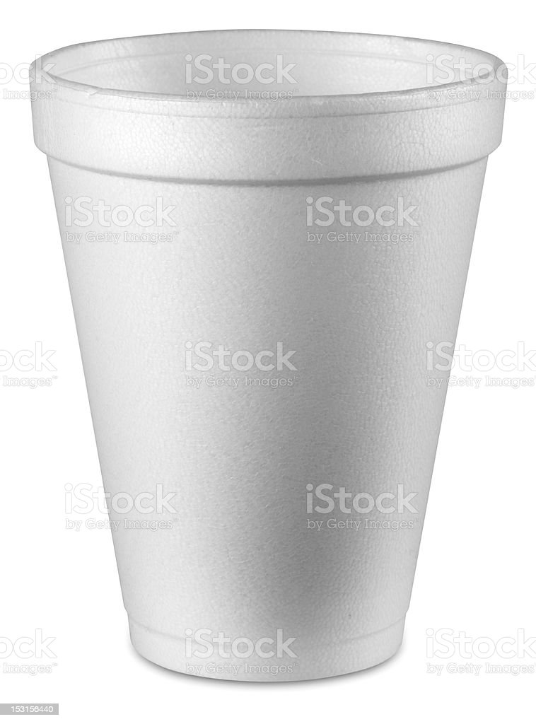 A plain white Styrofoam cup on white background stock photo