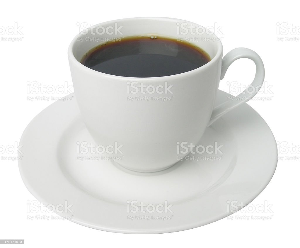 Plain white tea cup filled with coffee on white background stock photo