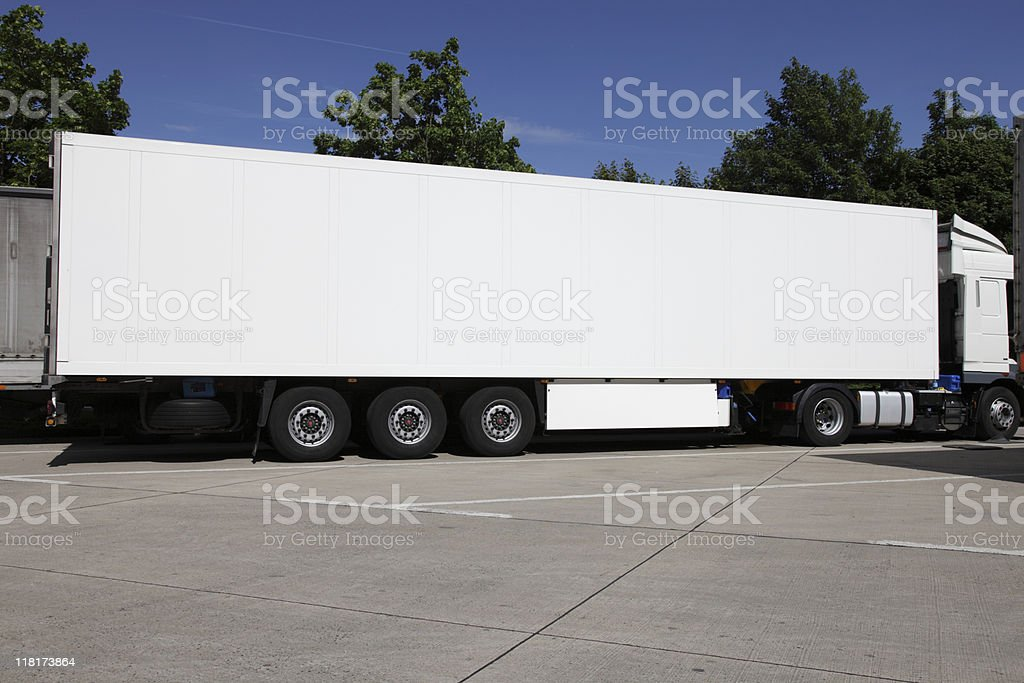 plain white truck aganist blue sky royalty-free stock photo